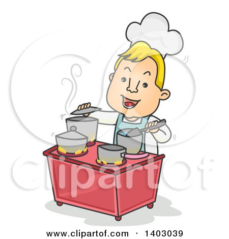 Clipart Of A Cartoon Happy Blond White Male Chef Multitasking in a Busy Kitchen - Royalty Free Vector Illustration by BNP Design Studio
