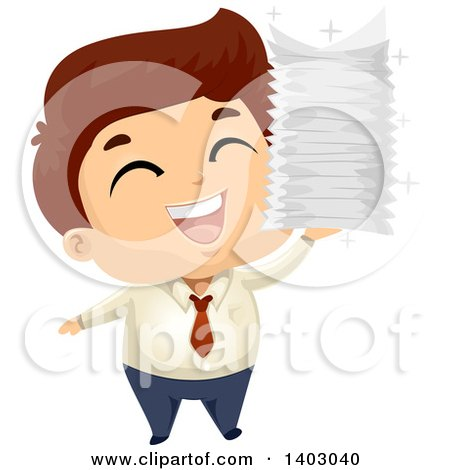 Clipart of a Brunette Caucasian Business Man Holding a Stack of Documents and Cheering - Royalty Free Vector Illustration by BNP Design Studio