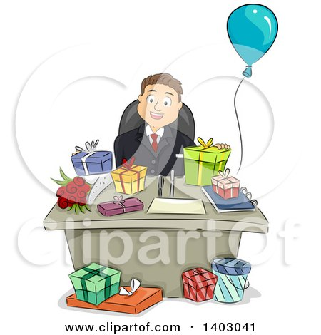 Clipart of a Cartoon Happy Brunette White Businessman Sitting at a Desk with Presents - Royalty Free Vector Illustration by BNP Design Studio