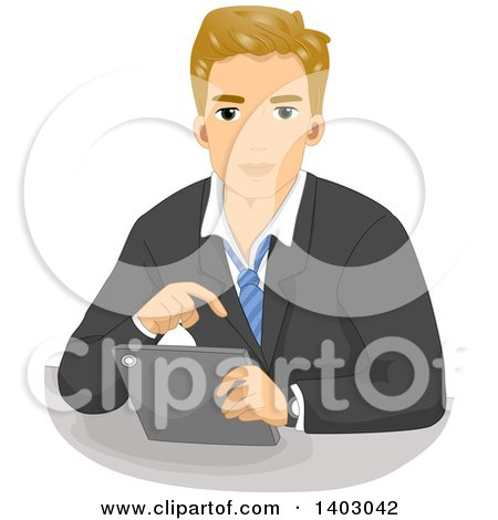 Clipart of a Blond Caucasian Business Man Using a Tablet Computer - Royalty Free Vector Illustration by BNP Design Studio