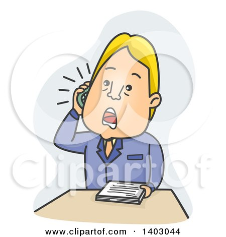 Clipart of a Cartoon Blond Caucasian Business Man with Paperwork, Talking on a Phone - Royalty Free Vector Illustration by BNP Design Studio