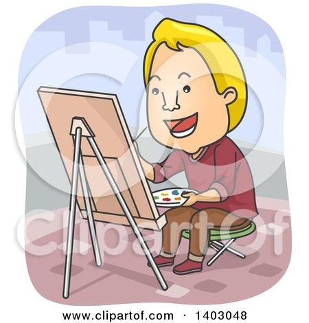 Cartoon Blond White Male Street Artist Painting on Canvas Posters, Art Prints