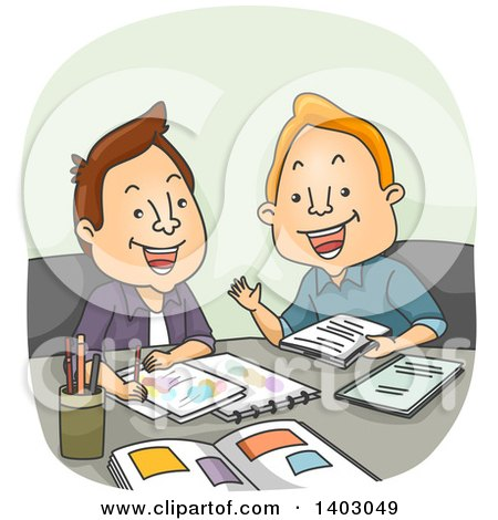 Clipart of a Cartoon White Male Artist and Writer Meeting for a Project - Royalty Free Vector Illustration by BNP Design Studio