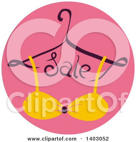 Clipart of a Hanger with Sale Text and a Bra or Bikini Top in a Pink Circle - Royalty Free Vector Illustration by BNP Design Studio