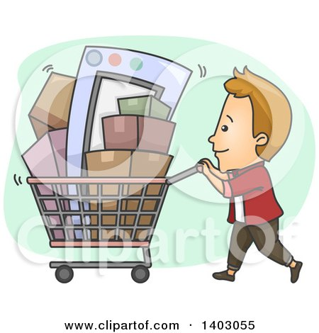 Clipart of a Cartoon Caucasian Man Pushing a Shopping Cart Full of Boxes and Items - Royalty Free Vector Illustration by BNP Design Studio