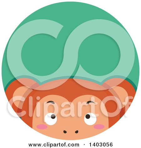 Clipart of a Cute Peeking Monkey in a Green Circle - Royalty Free Vector Illustration by BNP Design Studio