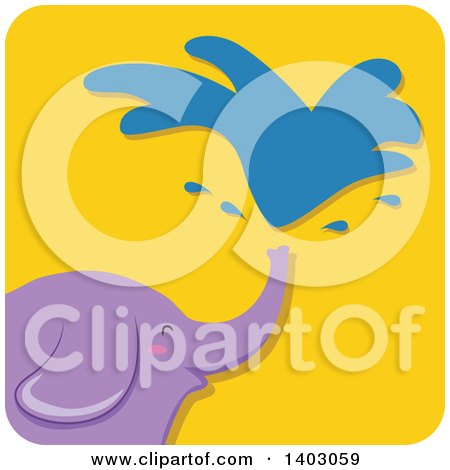 Clipart of a Happy Purple Elephant Squirting Water, on a Yellow Tile - Royalty Free Vector Illustration by BNP Design Studio