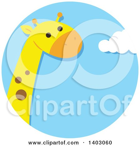 Clipart of a Cute Giraffe in a Sky Circle - Royalty Free Vector Illustration by BNP Design Studio