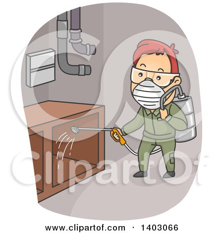 Clipart of a Cartoon Red Haired White Man Spraying Pesticides - Royalty Free Vector Illustration by BNP Design Studio