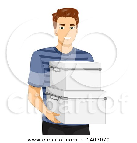 Clipart of a Brunette Caucasian Man Carrying Storage Containers - Royalty Free Vector Illustration by BNP Design Studio