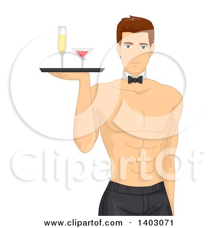 Clipart of a Shirtless Brunette Caucasian Man Wearing a Tie and Serving Drinks - Royalty Free Vector Illustration by BNP Design Studio