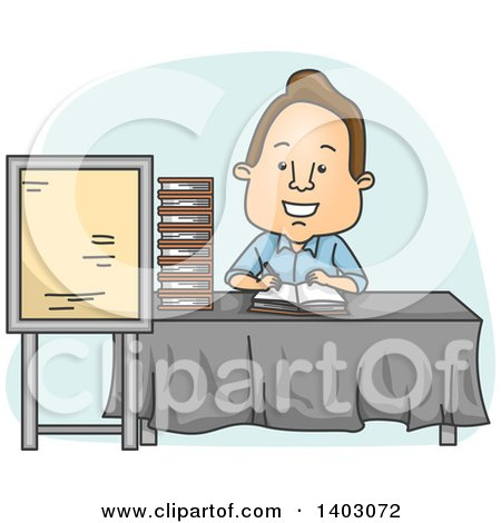 Clipart of a Cartoon Brunette White Male Author Signing Books - Royalty Free Vector Illustration by BNP Design Studio