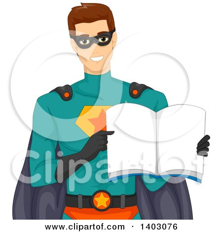 Clipart of a Brunette Caucasian Male Super Hero Holding Open a Book - Royalty Free Vector Illustration by BNP Design Studio
