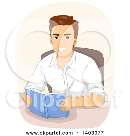 Clipart of a Happy Brunette White Man Reading a Book at a Table - Royalty Free Vector Illustration by BNP Design Studio