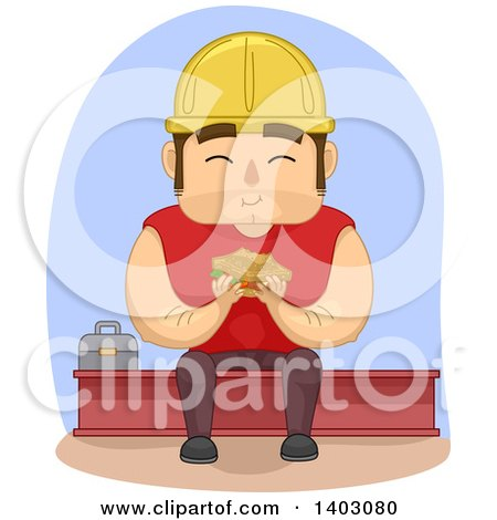 Clipart of a Cartoon White Male Construction Worker Eating a Sandwich on Break - Royalty Free Vector Illustration by BNP Design Studio
