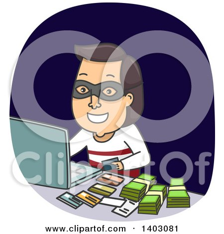 Clipart of a Brunette White Male Thief with Cash and Credit Cards, Making Purchases on a Laptop Computer - Royalty Free Vector Illustration by BNP Design Studio
