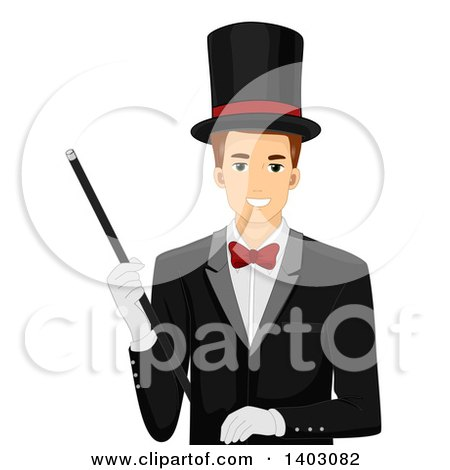 Clipart of a Brunette White Male Magician in a Top Hat and Suit, Holding a Wand - Royalty Free Vector Illustration by BNP Design Studio