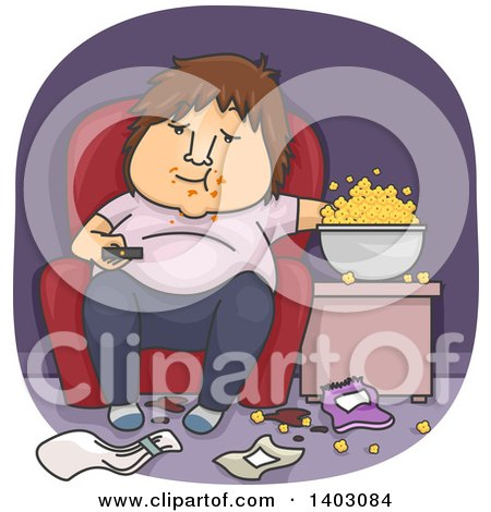 Clipart of a Cartoon Fat White Man Eating Popcorn in a Messy Living Room and Watching Tv - Royalty Free Vector Illustration by BNP Design Studio