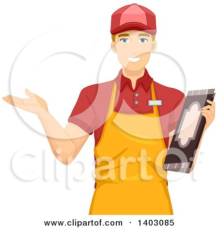 Clipart of a Blond White Male Waiter Holding a Menu and Welcoming Customers - Royalty Free Vector Illustration by BNP Design Studio