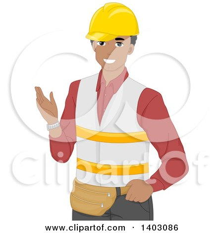 Clipart of a Happy Black Male Warehouse Worker Gesturing - Royalty Free Vector Illustration by BNP Design Studio