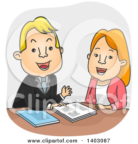 Clipart of a Cartoon White Sales Man Pitching to a Woman - Royalty Free Vector Illustration by BNP Design Studio