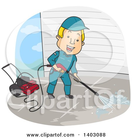 Clipart of a Cartoon Blond White Man Pressure Washing - Royalty Free Vector Illustration by BNP Design Studio