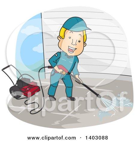 Clipart of a Cartoon Blond White Man Pressure Washing ...
