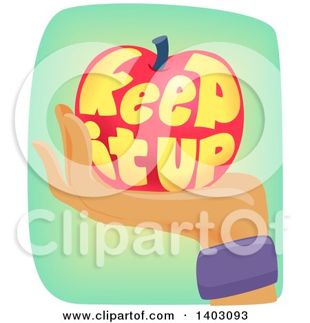 Clipart of a Hand Wearing a Sweat Band and Holding an Apple with Keep It up Text - Royalty Free Vector Illustration by BNP Design Studio