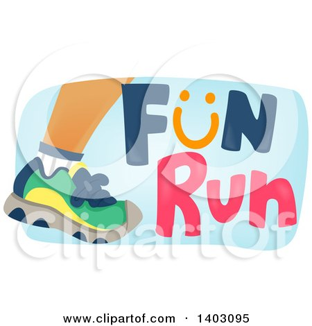 Clipart of a Foot of a Runner with Fun Run Text - Royalty ...