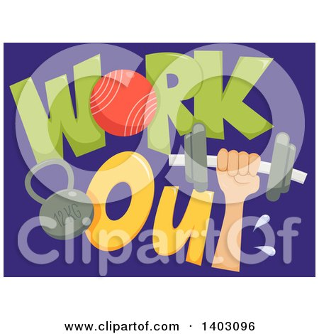 Clipart of a Hand Holding up a Dumbbell with Work out Text and a Kettlebell on Blue - Royalty Free Vector Illustration by BNP Design Studio