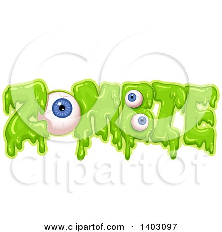 Clipart of a Slimy Green Word, Zombie, with Eyeballs - Royalty Free Vector Illustration by BNP Design Studio