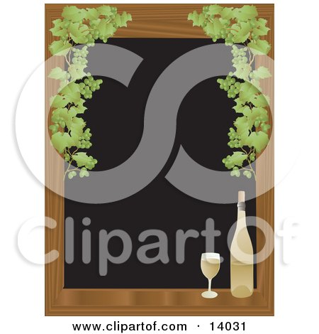 Full Glass Of White Wine Sitting On A Wooden Window Sill Framed By Green Grapes Over a Black Background Posters, Art Prints