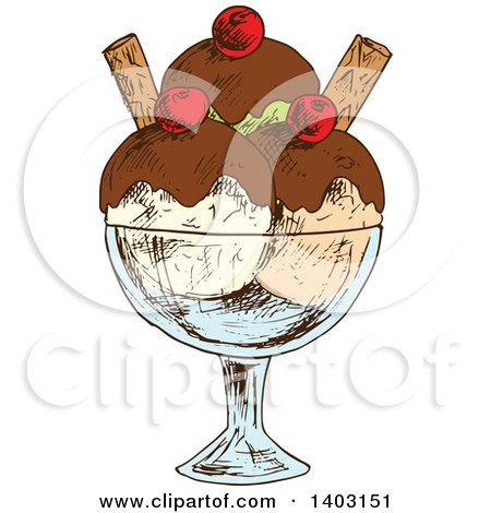 Clipart of a Sketched Ice Cream Sundae - Royalty Free Vector Illustration by Vector Tradition SM
