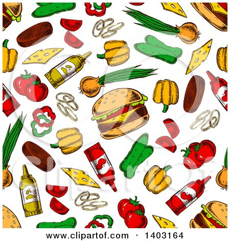 Clipart of a Seamless Background Pattern of Cheeseburgers and Toppings - Royalty Free Vector Illustration by Vector Tradition SM