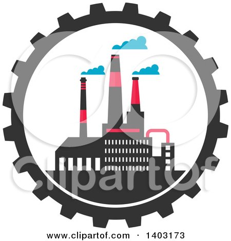Clipart of a Flat Design Factory Complex in a Gear Cog Wheel - Royalty Free Vector Illustration by Vector Tradition SM