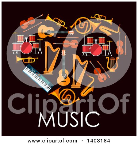 Clipart of a Heart Made of Instruments with Text on Black - Royalty Free Vector Illustration by Vector Tradition SM