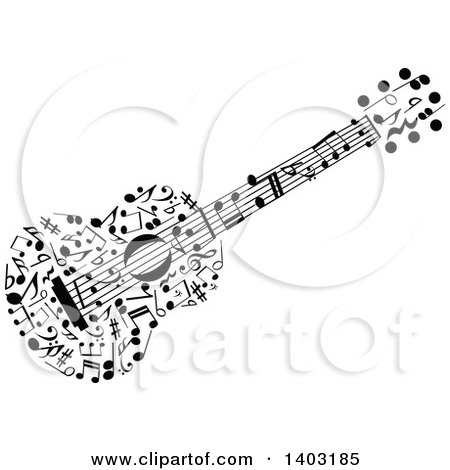 Clipart of a Black and White Guitar Made of Music Notes - Royalty Free Vector Illustration by Vector Tradition SM