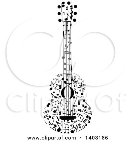 Black and White Guitar Made of Music Notes Posters, Art Prints