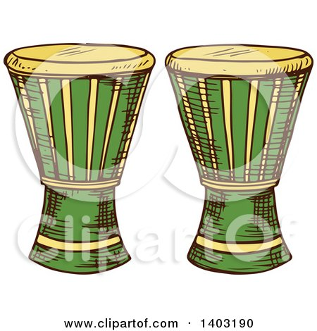 Clipart of Sketched Djembe Goblet Drums - Royalty Free Vector Illustration by Vector Tradition SM