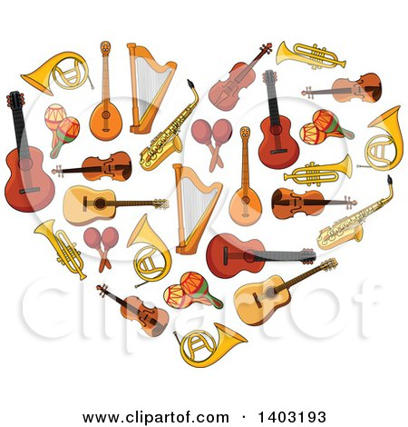 Clipart of a Heart Made of Instruments - Royalty Free Vector Illustration by Vector Tradition SM
