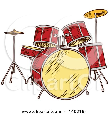 Clipart of a Sketched Drum Set - Royalty Free Vector Illustration by Vector Tradition SM