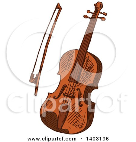 Clipart of a Sketched Violin and Bow - Royalty Free Vector Illustration by Vector Tradition SM