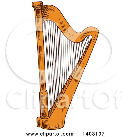 Clipart of a Sketched Harp - Royalty Free Vector Illustration by Vector Tradition SM