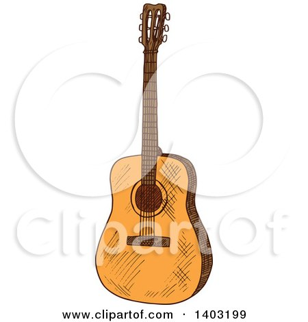Clipart of a Sketched Acoustic Guitar - Royalty Free Vector Illustration by Vector Tradition SM