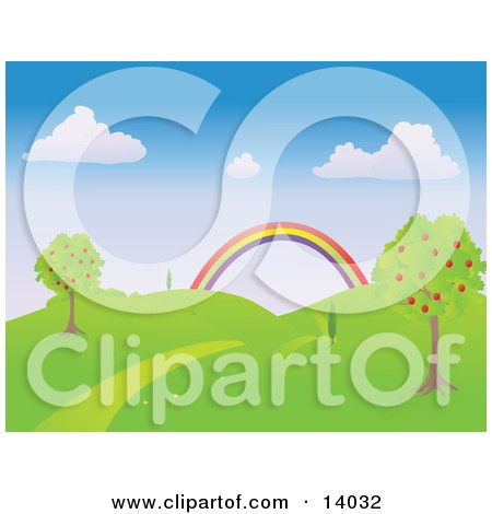 Nature Trail Path Leading Between Apple Trees Towards a Colorful Rainbow in a Hilly Landscape Clipart Illustration by Rasmussen Images