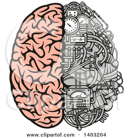 Clipart of a Half Human, Half Data Processing Center Brain - Royalty Free Vector Illustration by Vector Tradition SM
