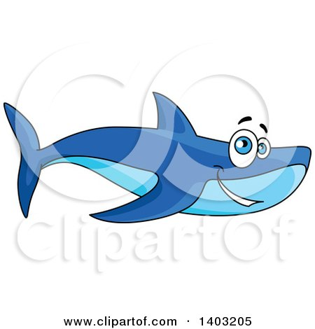 Clipart of a Cartoon Happy Blue Shark - Royalty Free Vector Illustration by Vector Tradition SM