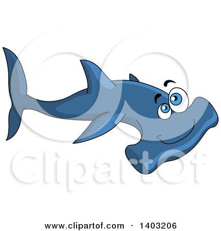 Clipart of a Cartoon Happy Blue Hammerhead Shark - Royalty Free Vector Illustration by Vector Tradition SM