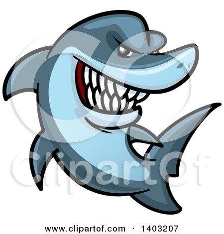 Clipart of a Cartoon Tough Blue Shark - Royalty Free Vector Illustration by Vector Tradition SM