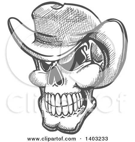 Clipart of a Sketched Gray Human Skull Wearing a Cowboy Hat - Royalty Free Vector Illustration by Vector Tradition SM